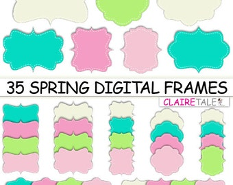 """Digital clipart labels: """"SPRING DIGITAL FRAMES"""" clipart frames, labels, tags in pink, green, turquoise for scrapbooking, cards, invitation"""