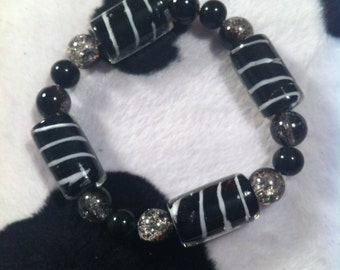 Lampworked Glass Bracelet - Black