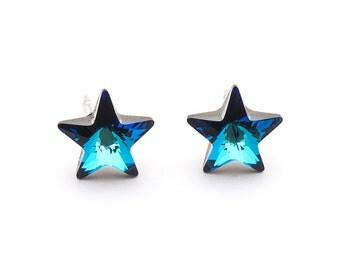 Swarovski Star Earrings Star Stud Earrings Bermuda Blue Earrings Swarovski Studs Sterling Silver Earrings Post Earrings Swarovski Jewelry