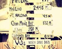 """Hawaii Wall Art, Hawaiian Photography, Surf Decor, Hawaii Sign, Pipeline, North Shore,Yellow, Oahu, Wall Decor, Waimea Bay - """"That Way"""""""