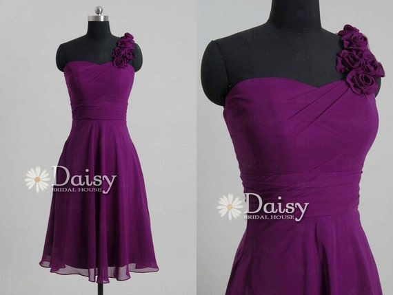 2014 Purple Chiffon Bridesmaid Dress,One-Shoulder Short Bridesmaid Dresses,Magenta Knee Length Bridal Party dress,Formal Dresses(BM0179137B)
