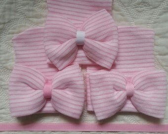 Pink and White Hospital Newborn Hat with Bow!  Single Ply Hat.  Great for the L and D Nurse to place on your newborn baby girl at Birth!