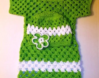 Green Crochet Girls Dress & Hat