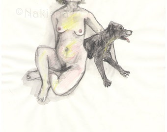 Nude Woman with Scruffy Dog - Original pencil and watercolor drawing - Mature