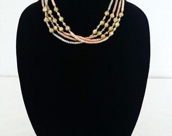 80s Handmade, Layered Bead Necklace