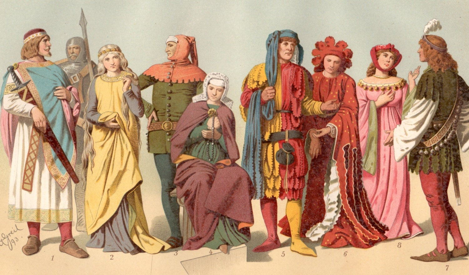 Medieval Costumes Antique Print Antique Clothing 1894