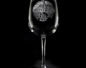 Street Maps Rocks Glassware, Hometown City Etched Wine Glasses