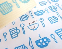 Rubber stamp, Kitchen goods stamp, Cute stationery, Kitchen tool print, Menu decor, knife and spoon, Wrapping paper decor, Kitchen gift