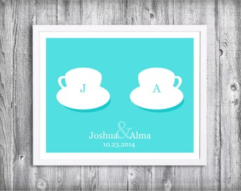 Couple Coffee Cups Art Print - Personalized Kitchen Art