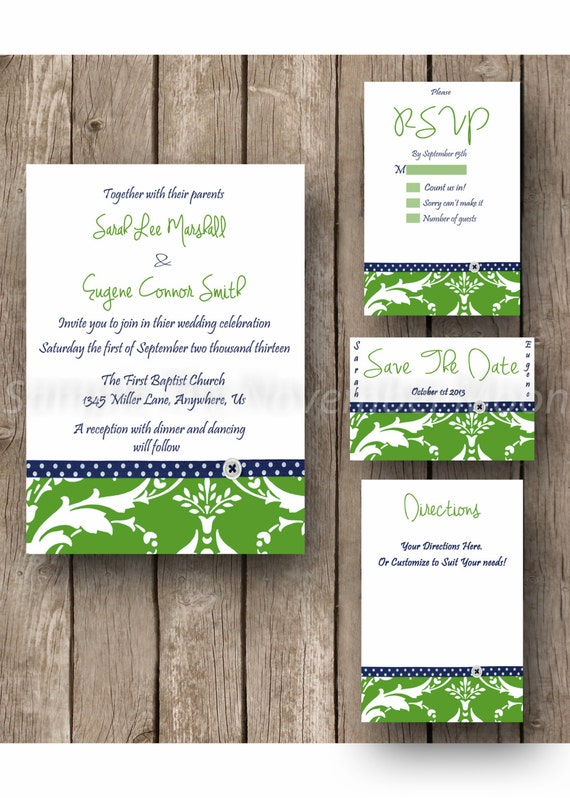 Wedding Invitation Kit, Green Damask, Blue Ribbon, Modern, Chic, Hand Writing, Digital File
