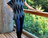 Custom Order for Amy...Boho chic asymmetrical,  top & bamboo poncho