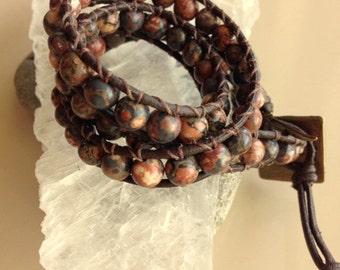 Mens or Womens Brown Jasper Wrap Bracelet - Brown Jasper Double Wrap