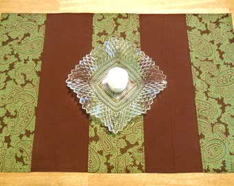 Green Brown Table Runner Small Quilted Fabric Paisley Print