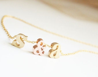 Lowercase Initial Necklace, His And Her Initials, Bridesmaid Gift, Wedding Jewelry, Ampersand, Heart, Personalization, Holiday Gift