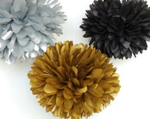 Great Gatsby Theme Party / 5 metallic gold silver black tissue poms / gatsby party / speakeasy party / roaring 20s party