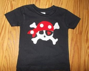 Pirate Skull with Crossbones Applique T Shirt