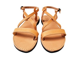 Greek Sandals, Ankle Strap Women Sandals in Natural Tan