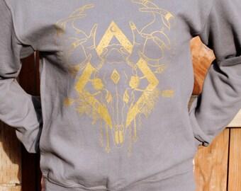 Deer Skull Print: Charcoal Crew