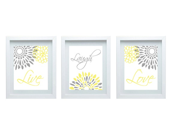 Live laugh love modern flower print flourish design yellow for 8x10 bedroom furniture layout