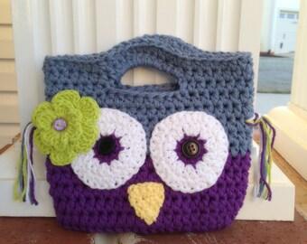 Girl owl purse,crochet, Christmas gift girl, toddler purse, purple purse, little girl accessories, birthday gift girl, knit girl purse