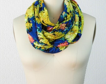Floral Scarf: Yellow And Blue Scarf - Jersey Scarf - Infinity Scarf
