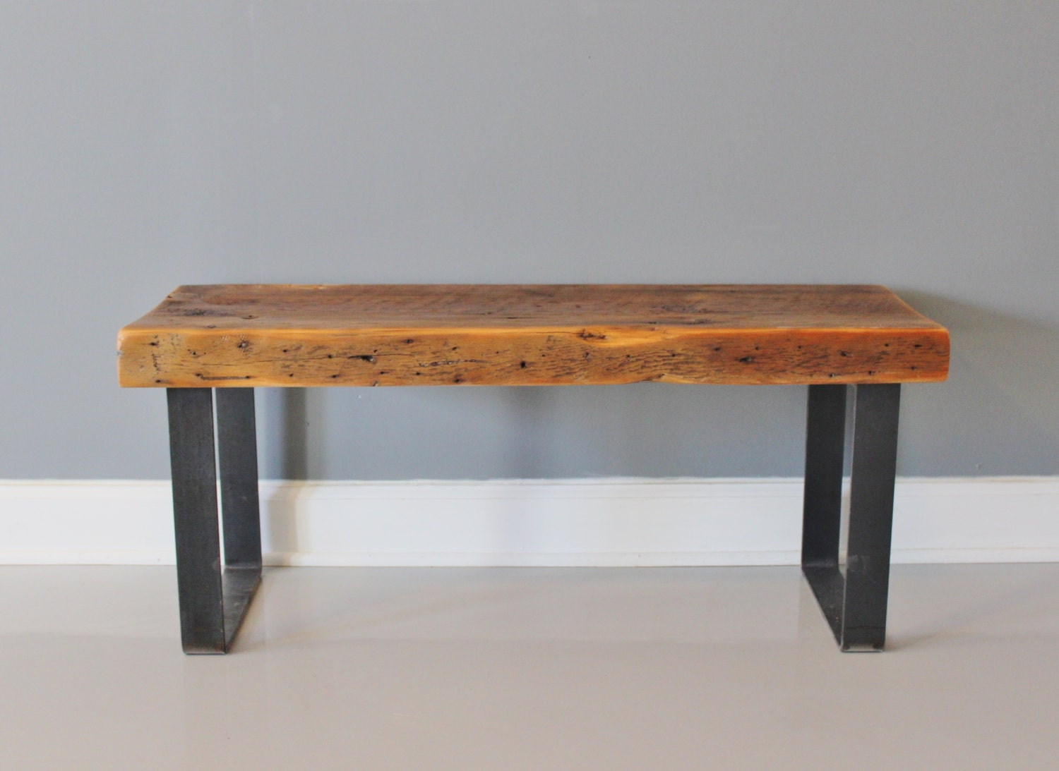 Bench Industrial Steel And Wood Reclaimed Wood Bench By