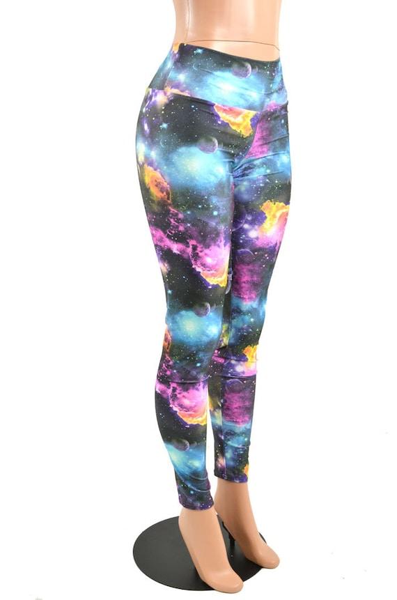 UV Glow Galaxy Print High Waist Lycra Spandex Leggings