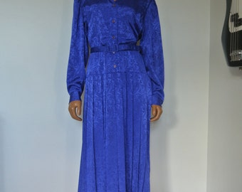 Vintage 1980s Satin Damask Royal Blue Dress with Drop Waist / S