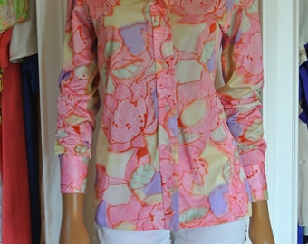 1970s Hippie Shirt Psychedelic Blouse Disco Era by Lady Manhattan/ Small