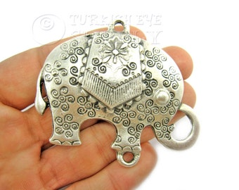 Large Silver Elephant Pendant, Antique Silver Plated Exotic Elephant Pendant, Elephant Findings, Turkish Jewelry