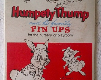 Humpety Thump and his Family Pin Ups - Cartoon Rabbit Bunny - Baby Nursery Room Wall Art Decoration Kit - New Old Stock - Original Package