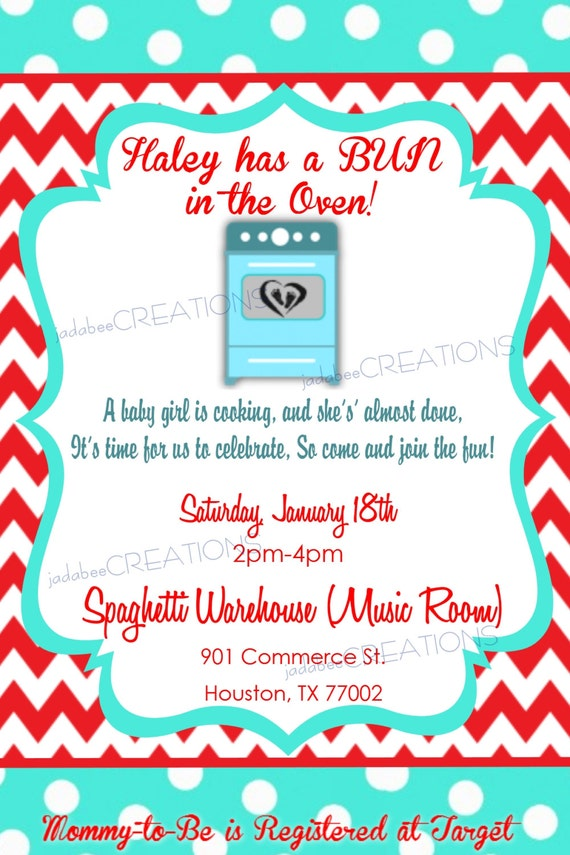Items similar to Bun in the Oven Baby Shower Invitation ...