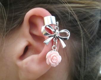 Bow with flower ear cuff wrap - bow ear cuff earring