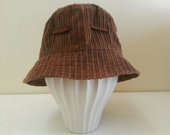 Tie Dye Corduroy Hat with suede ribbon