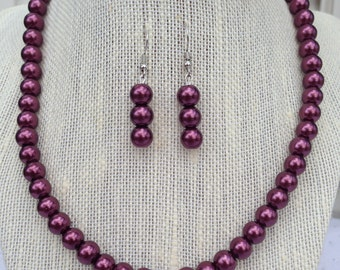 Burgundy Pearl Bridal Necklace, Wine Wedding Jewelry, Bridesmaid Necklaces, Wine Pearl Jewelry, Mother of the Bride Jewelry Gift