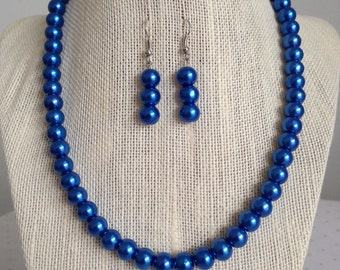 Royal Blue Pearl Necklace, Bridesmaid Wedding Jewelry Set, Royal Blue Wedding, Bridesmaid Gift, Blue Bridesmaid Necklaces, Gift for Her