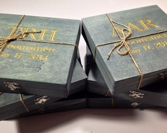 Groomsmen Gift - 6 Rustic Cigar Boxes With Laser Engraved Names - Personalized & Stained Wooden Cigar Box - Felt Lined Bottom
