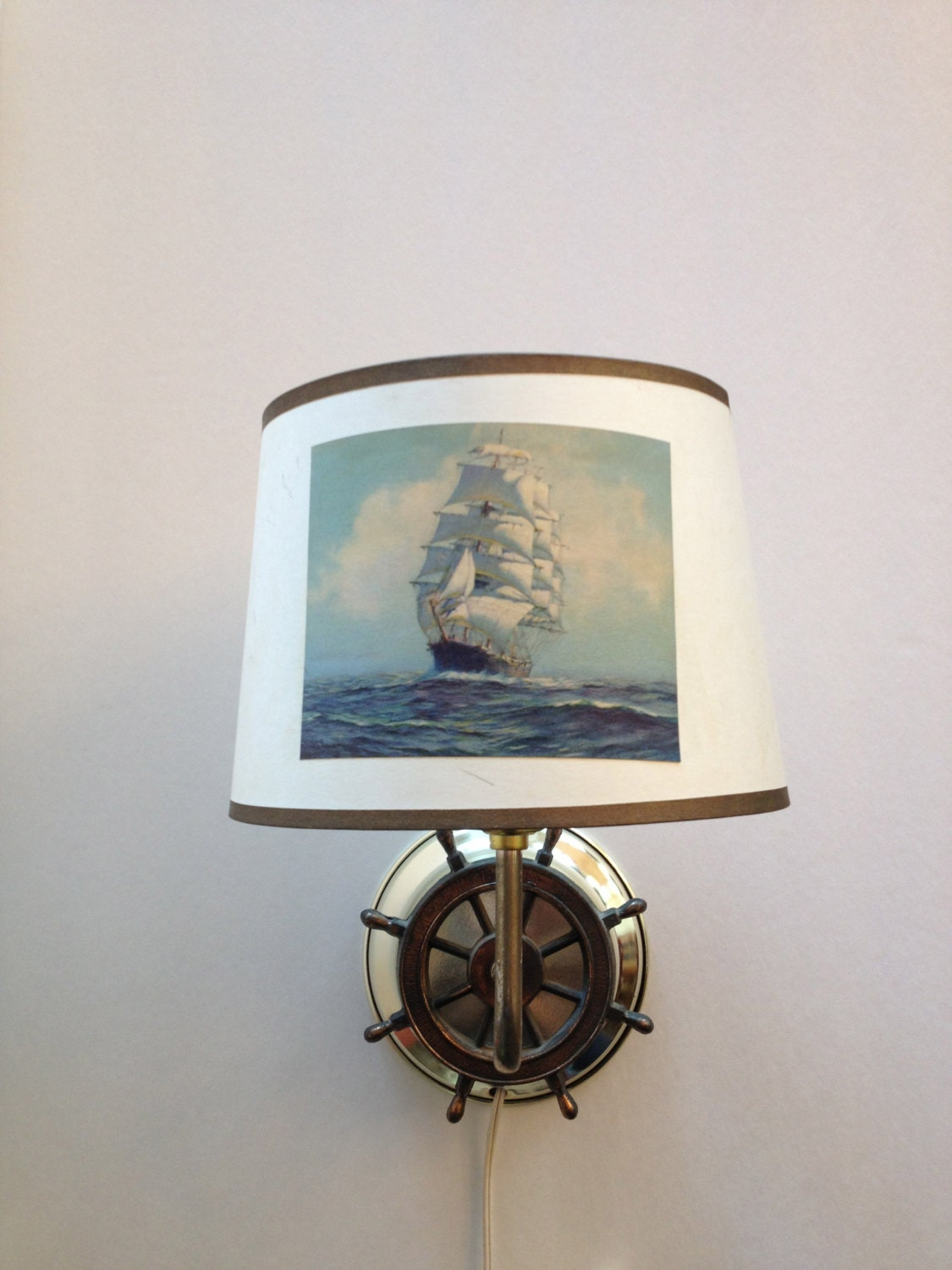 vintage nautical lamp lantern light ship wheel by vintagebybeth. Black Bedroom Furniture Sets. Home Design Ideas