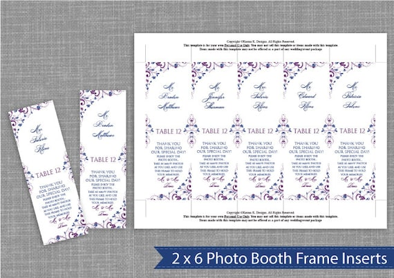 photo booth frame inserts template photo booth place card insert download by diyweddingtemplates