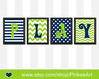 kids playroom decor navy green PLAY, playroom sign, modern nursery art, chevron polka dot striped kids room art, boy room decor, boy gift
