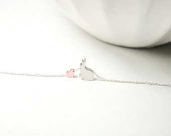 Bunny necklace , Silver or Gold Rabbit ,Bunny Jewelry  Rose Gold Heart Jewelry,Sisters Necklace Set ,Best Friends .Neice.Daughter Gifts