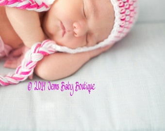 Crochet Baby Girl Hat with ear flap and flower, Made to order,  preemie or newborn,  Photo Prop Beanie