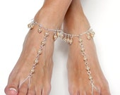 Stunning champagne bridal barefoot sandals chained foot jewelry anklet