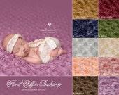 "Newborn Photography Fabric Backdrops ""Fleur Fluff"" Newborn Backdrop Flower Chiffon Newborn Photography BACKDROP - Choose Color"