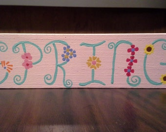 Wooden Spring Block, Home Decor, Easter Gift, Easter Craft, Mothers Day Gift