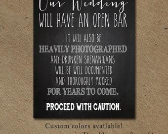 Funny Wedding SIGN Drink Open BAR winter wedding signage cottage chic Chalkboard rustic Reception decoration Digital DIY Printable File jpg