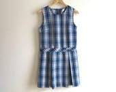 School Uniform Jumper Mod Scooter Dress Navy Blue White Tartan Plaid Pleated Dress Back To School Royal Park Medium Size