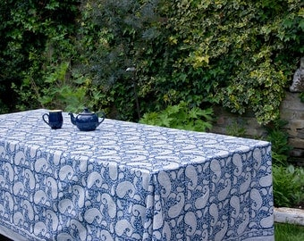 Block printed TABLECLOTH - Large paisley design on a dark blue background
