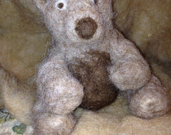 Bear in carded wool, children's toy