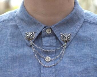 Silver Owl Head Collar Chain/ Cardigan Clip